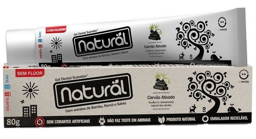 Gel dental natural com  extratos de bambu,romã e sálvia.